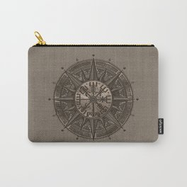 Vegvisir - Viking Compass - Beige Leather and gold Carry-All Pouch