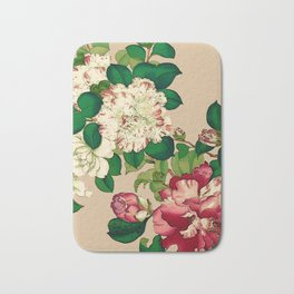 Vintage Japanese Camellias. Deep Pink on Beige Bath Mat