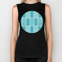 Aqua doodle criss cross vector seamless background pattern with rectangles Biker Tank