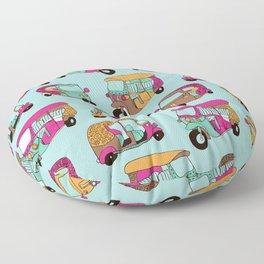 India rickshaw illustration pattern Floor Pillow