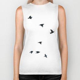 Ravens Birds in Black and White Biker Tank