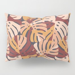 Color Block Monstera Leaves in Maroon Pillow Sham
