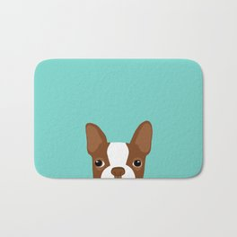 Red Boston Terrier Bath Mat