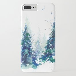 Watercolor winter fir forest Christmas iPhone Case