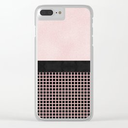 Textured Pink Design With Black Checkered Pattern Clear iPhone Case