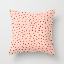 Ditsy Floral Petal Garden, Watercolor Leaves in Soft Pastel Pinks with Splashes of Red Throw Pillow