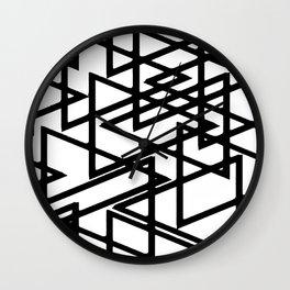 Interlocking Black Triangles Artistic Design Wall Clock