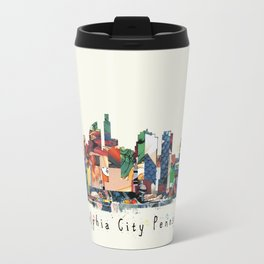 Philadelphia skyline comic Travel Mug