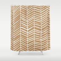 herringbone Shower Curtains featuring Kraft Herringbone by Cat Coquillette