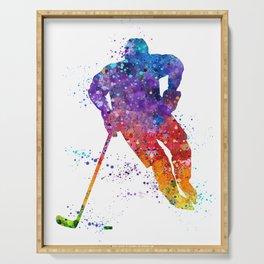 Boy Ice Hockey Colorful Watercolor Artwork Serving Tray