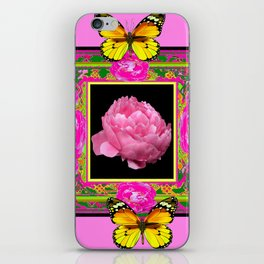 DECORATIVE ORNATE YELLOW BUTTERFLIES & PINK PEONY FLORAL VIGNETTE iPhone Skin