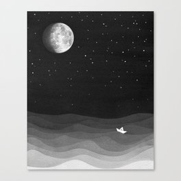 Moon phase, black and white, ocean Canvas Print
