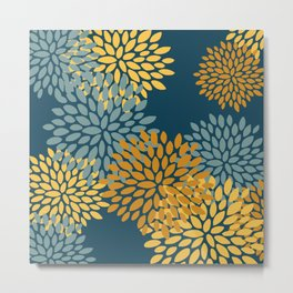 Modern Flowers Print, Dark Teal and Yellow Metal Print
