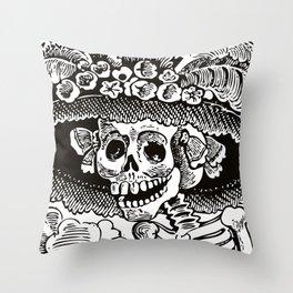 Calavera Catrina | Skeleton Woman | Black and White | Throw Pillow