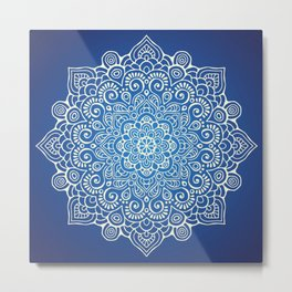 Mandala dark blue Metal Print