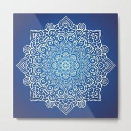 Mandala dark blue Metal Print