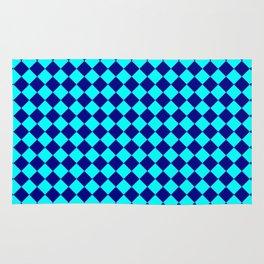 Cyan and Navy Blue Diamonds Rug