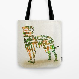 Rottweiler Dog Typography Art / Watercolor Painting Tote Bag
