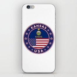 Kansas, Kansas t-shirt, Kansas sticker, circle, Kansas flag, white bg iPhone Skin