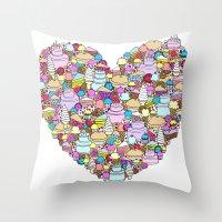 dessert Throw Pillows featuring Dessert by Julia Emiliani