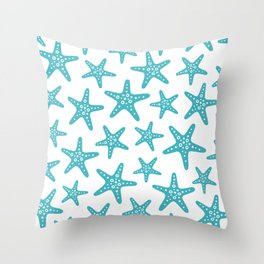 Sweet Starfish Pattern 229 Turquoise Throw Pillow