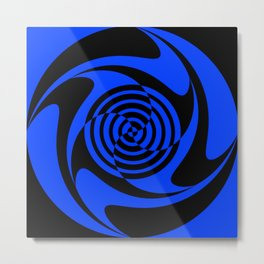 Blue and Black Geometric Swirl Metal Print