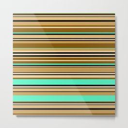 Mint brown stripe Metal Print