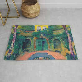 "Koloman Moser ""Yellow house in a landscape"" Rug"