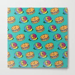 Chipwich & Rainbow Rose Repeat Metal Print