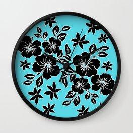 Lilikoi Hibiscus Hawaiian Hula Pareau Design Wall Clock