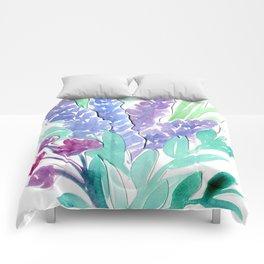 Lavender Floral Watercolor Bouquet Comforters