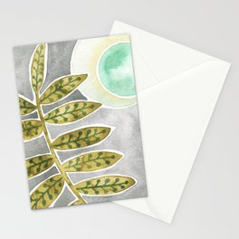 Mint Moon and Leaves Stationery Cards