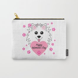 Happy Valetines Day with Dog Carry-All Pouch