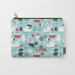 Veterinary medicine, happy and healthy friends // aqua background Carry-All Pouch