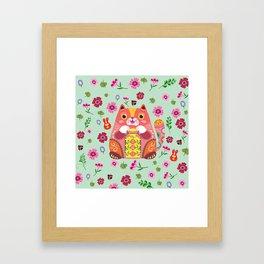 Happy Fortune Cat Framed Art Print