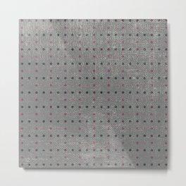 Abstract vintage pink coral gray polka dots pattern Metal Print