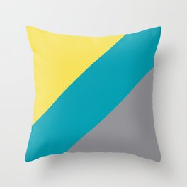 Grey Yellow Aqua Line Design Solid Colors 2021 Color of the Years and Accent Hue Throw Pillow