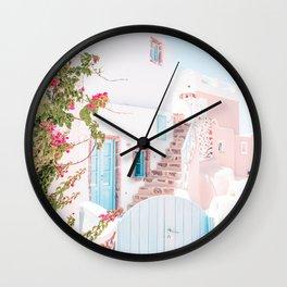 Santorini Greece Mamma Mia Pink House Travel Photography Wall Clock