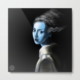 Girl With Lightning Trace Streaks On The Side Of Her Head Metal Print