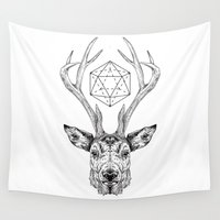 stag Wall Tapestries featuring Stag by Andy Christofi