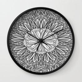 Flower Kaleidoscope Grays Wall Clock