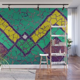 Green, yellow and brown mosaic figure #Terrazzo #Blobs Wall Mural