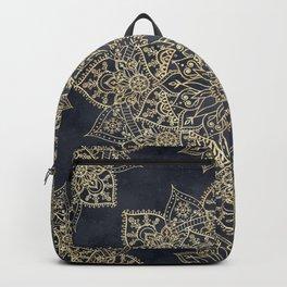 Elegant poinsettia flower and snowflakes mandala art Backpack
