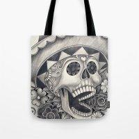 dia de los muertos Tote Bags featuring Dia de Los Muertos by afzucatti