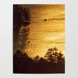 Golden Waters on Newfound Lake Poster