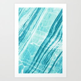 Abstract Marble - Teal Turquoise Art Print