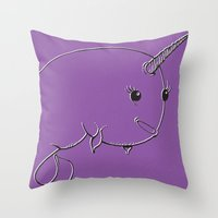 narwhal Throw Pillows featuring Narwhal by Michael Scott Murphy
