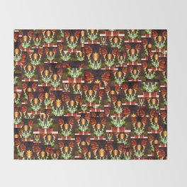 Symmetrical Red Flowers in Striped Pot Throw Blanket
