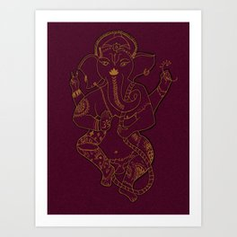 Ganesha Red and Gold Art Print