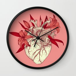 Pink Anatomy heart with lily flowers  Wall Clock